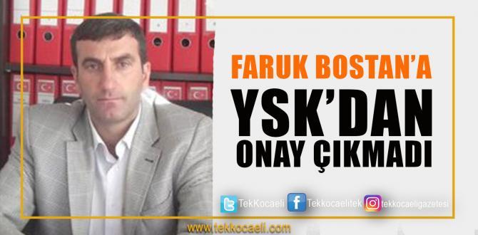 Faruk Bostan'a Onay Çıkmadı