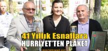 Meslekte 41 Yılını Dolduran Esnafa Plaket