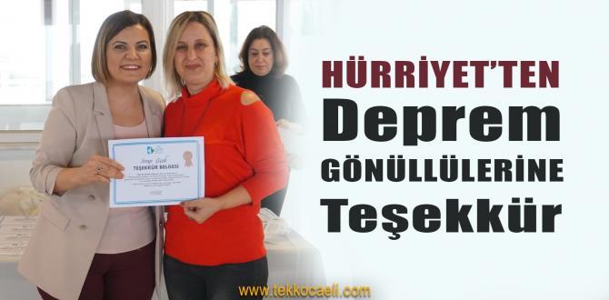 Hürriyet'ten Deprem Gönüllülerine Teşekkür