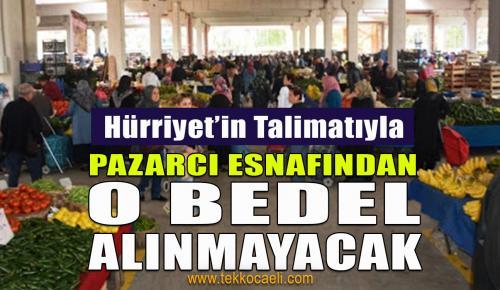 İzmit Belediyesi Pazarcı Esnafından Bedel Almayacak