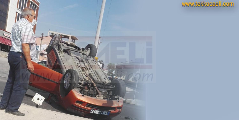 İzmit'te Kaza; Araç Takla Attı